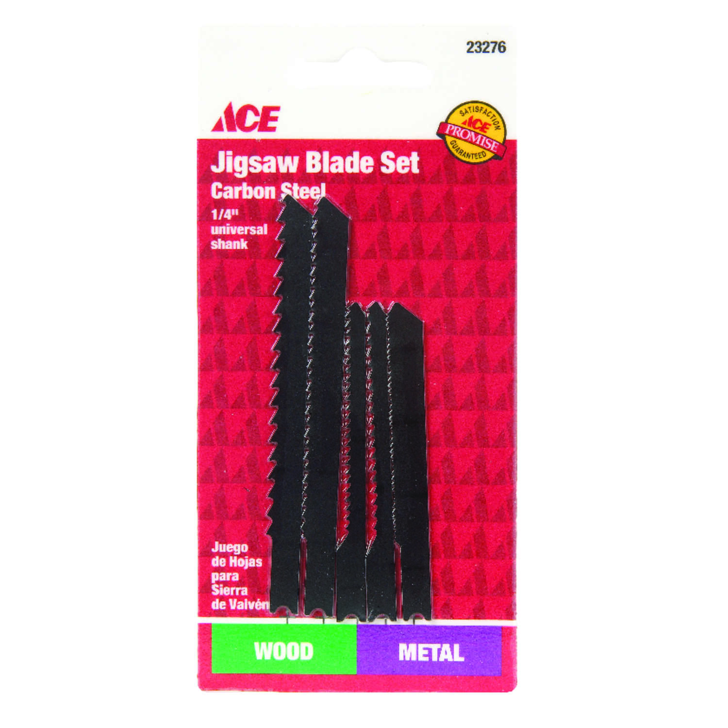 Ace  High Carbon Steel  Universal  Jig Saw Blade Set  5 pk