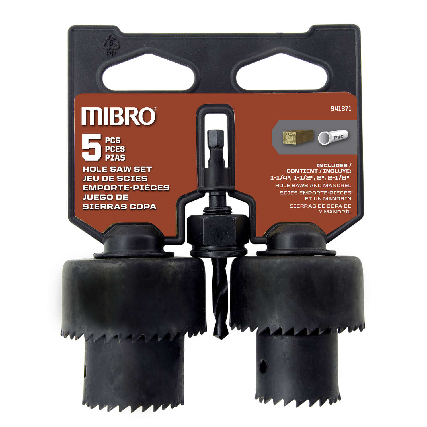Mibro  Carbon Steel  Hole Saw Set  5 pc.