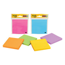 Post-it  4 in. W x 4 in. L Assorted  Lined Sticky Notes  1 pad