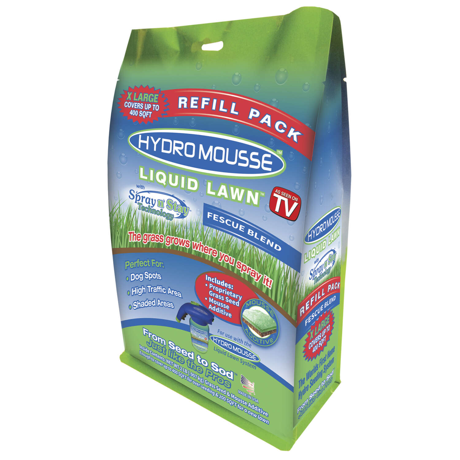Hydro Mousse Liquid Lawn  As Seen on TV  Fescue Blend  Full Sun  Grass Seed  2 lb.