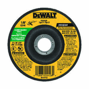 DeWalt  4 in. Dia. x 5/8 in.   x 1/8 in. thick  High Performance  Aluminum Oxide  Masonry Grinding W