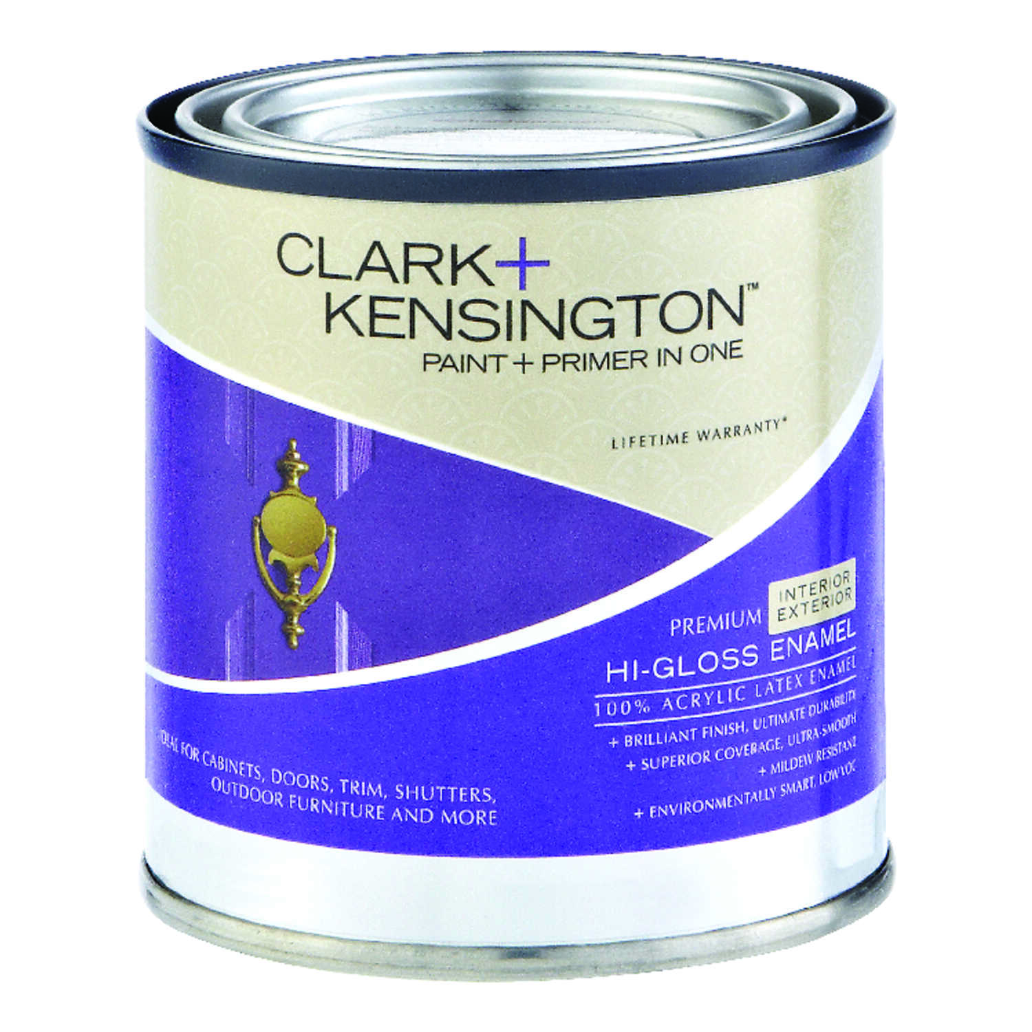 Clark+Kensington  High-Gloss  Acrylic Latex  Designer White  Paint and Primer  1/2 pt.