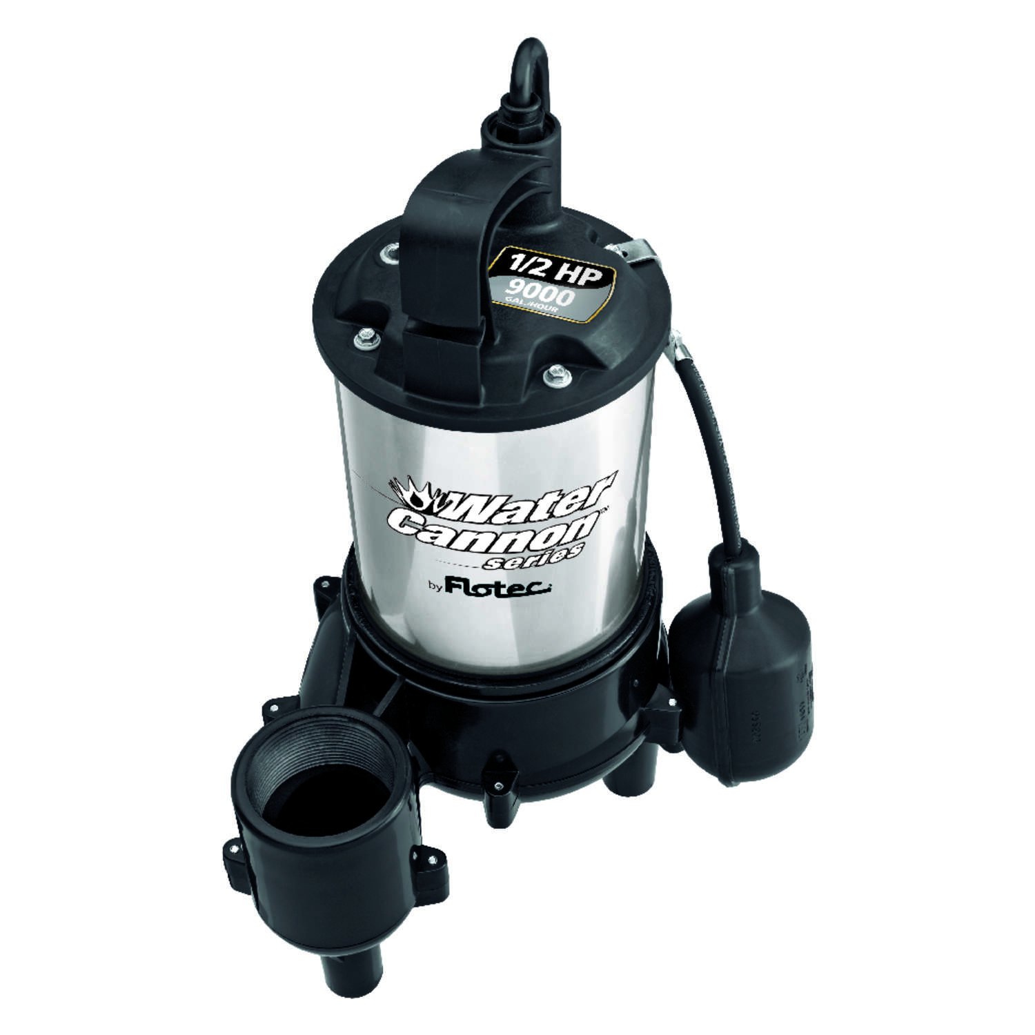 Flotec  Water Cannon Series  1/2 hp 9,000 gph Stainless Steel  Tethered  Sewage Pump