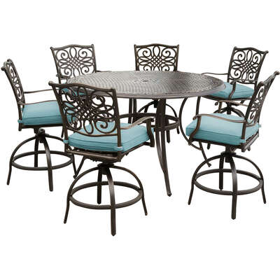 Hanover  7 pc. Brown  Aluminum  Patio Set  Blue