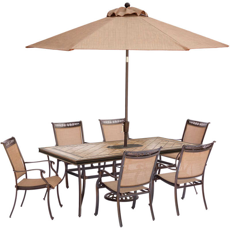 Hanover  7 pc. Brown  Aluminum  Fontana  Patio Set