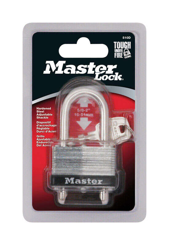 Master Lock  1-3/32 in. H x 1-1/32 in. W Warded Locking  Laminated Steel  Padlock  1 each