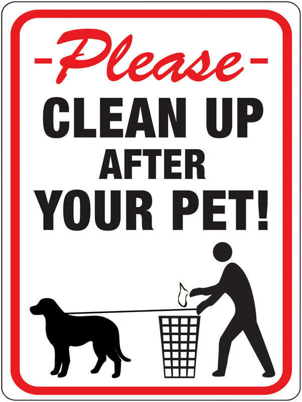 Hy-Ko  English  Clean Up After Your Pet  Sign  Plastic  12 in. H x 9 in. W