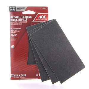 Ace  Drywall  2-5/8 in. W x 5 in. L Assorted  80/100/120/150 Grit 8 pk Sanding Sheet  Silicon Carbid