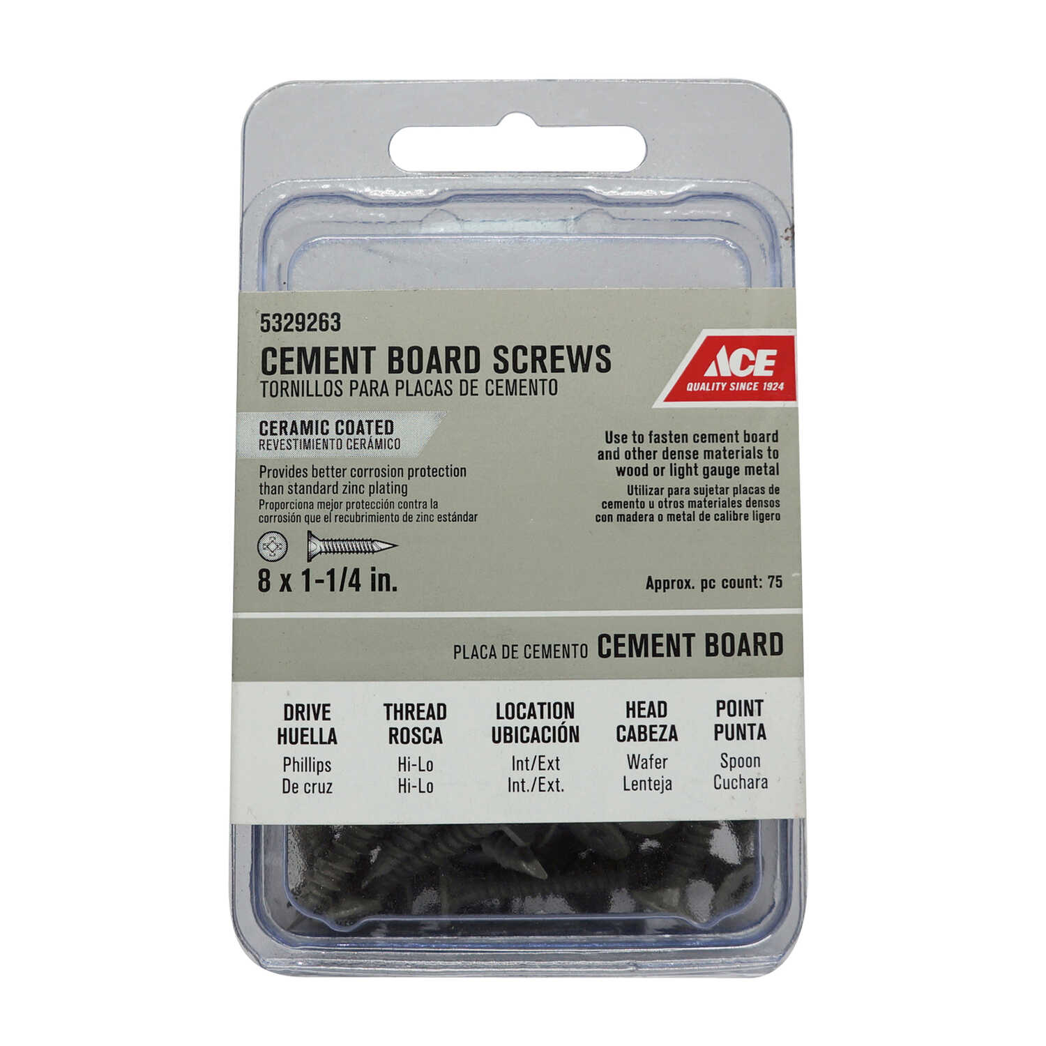 Ace  No. 8   x 1-1/4 in. L Phillips  Wafer Head Ceramic  Steel  Masonry Screws  75 pk