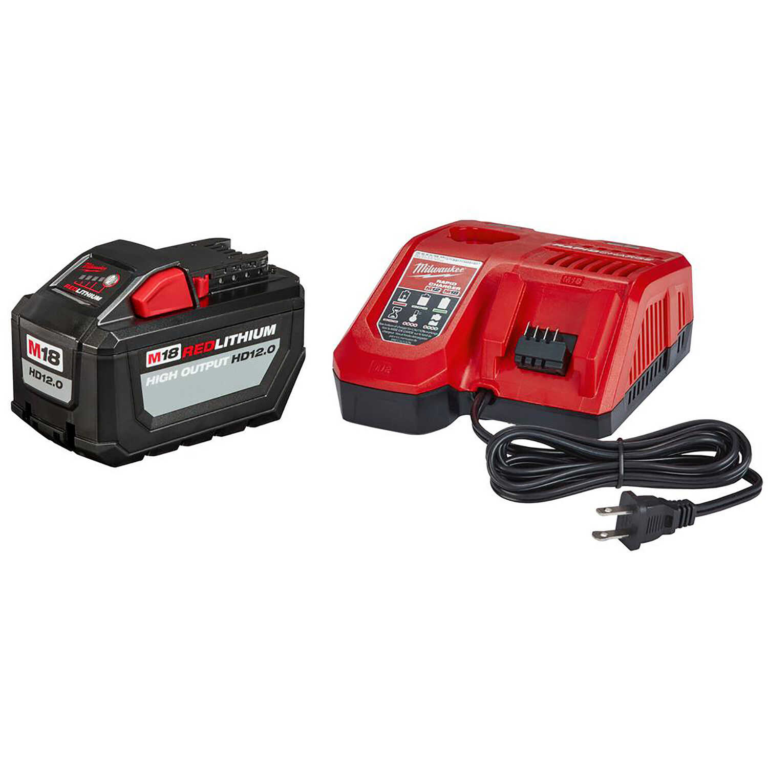 Milwaukee  M18 REDLITHIUM  HD12.0  12 Ah Lithium-Ion  Starter Kit  Battery and Charger  2 pc.