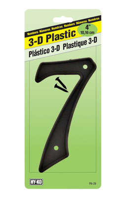 Hy-Ko 4 in. Black Plastic Nail-On Number 7 1 pc.