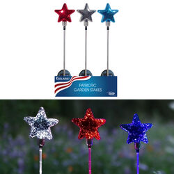 Alpine  Glass  Assorted  35 in. H Patriotic  Solar Garden Stake