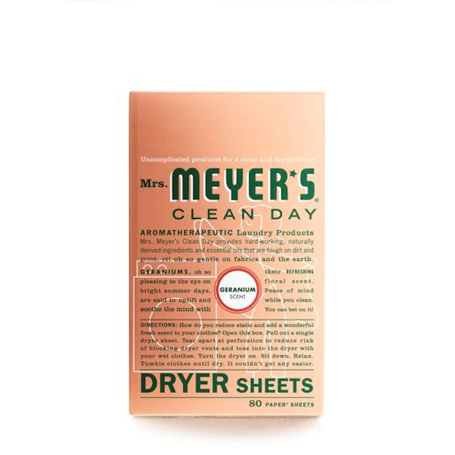 Mrs. Meyer's  Clean Day  Geranium Scent Fabric Softener  Sheets  80 oz.