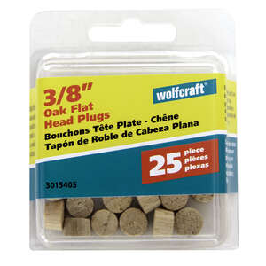 Wolfcraft  Flat  Oak  Flat Head Plug  3/8 in. Dia. x 1/4 in. L 25 pk Natural