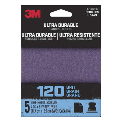 3M  Ultra Durable  5.5 in. L x 4.5 in. W 120 Grit Aluminum Oxide  Sanding Sheet  5 pk