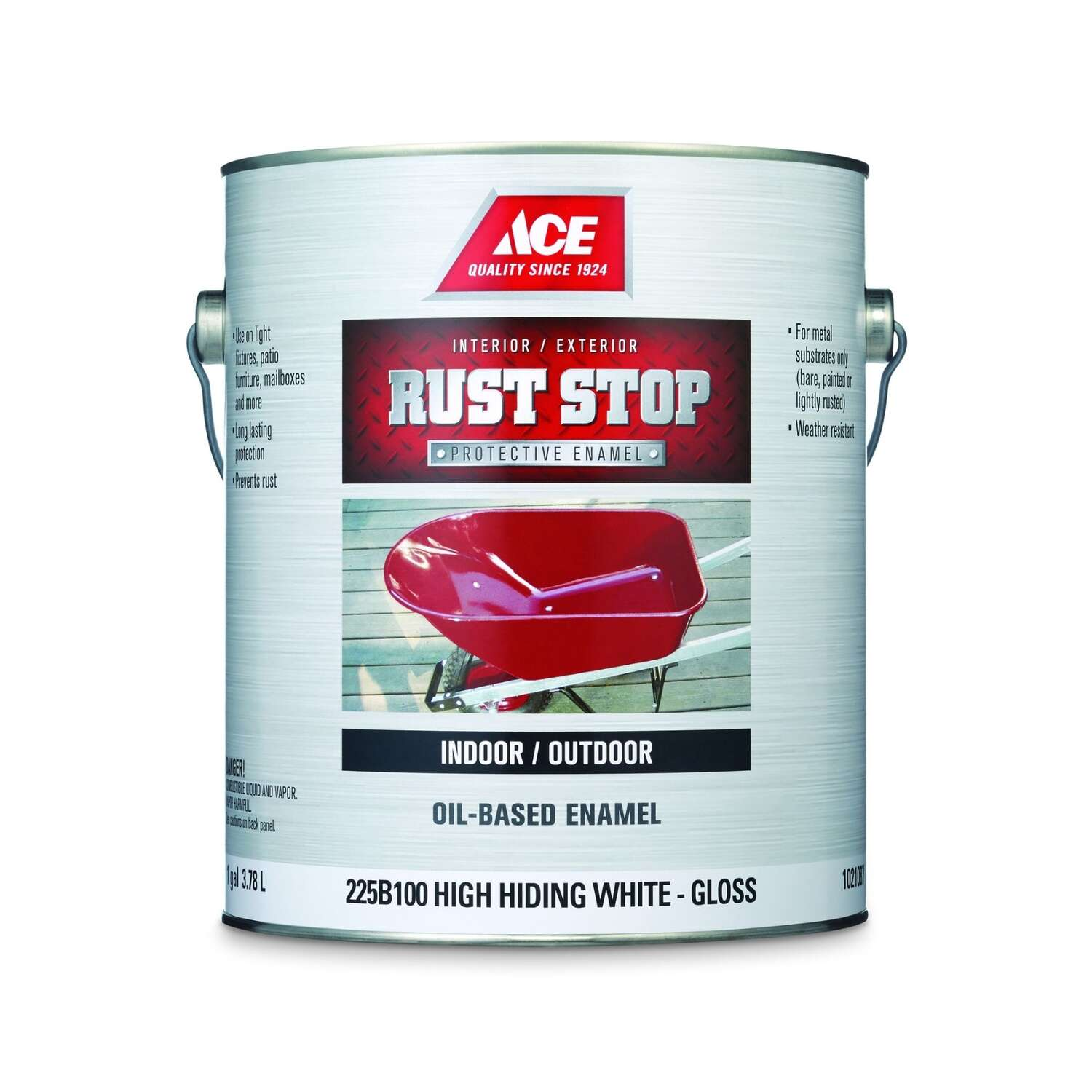 Ace  Rust Stop  Indoor/Outdoor  Gloss  High-Hiding White  Oil-Based Enamel  Rust Preventative Paint