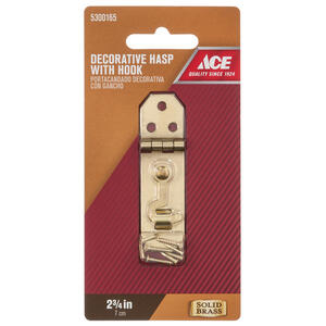 Ace  Solid Brass  Brass  2.8 in. Decorative Hasp w/Hooks