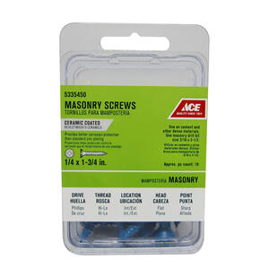 Ace  1/4 in.   x 1-3/4 in. L Phillips  Flat Head Ceramic  Steel  Masonry Screws  18 pk