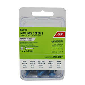 Ace  1/4 in.   x 1-3/4 in. L Phillips  Flat Head Ceramic  Steel  Masonry Screws  18 each