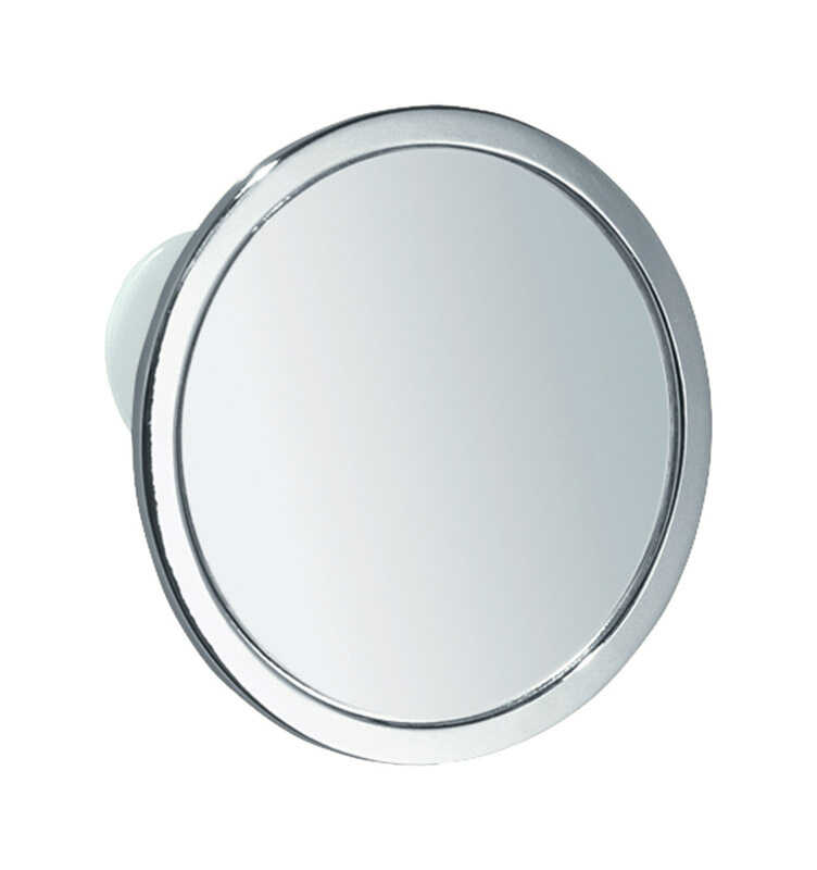 InterDesign  Shower Mirror  5.8 in. H x 5.8 in. W x 0.7 in. L Silver  Stainless steel