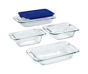 Pyrex  9 in. W x 13 in. L Bake and Store Set  Blue/Clear