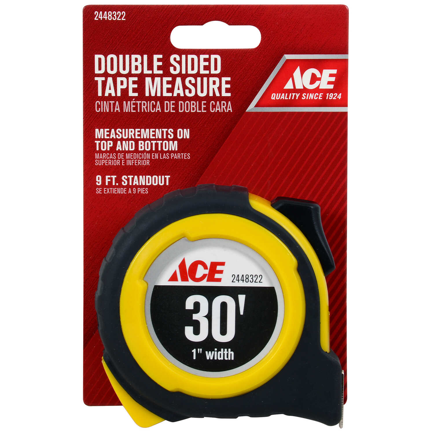 Ace  30 ft. L x 1 in. W Double Sided  Tape Measure  Yellow  1 pk