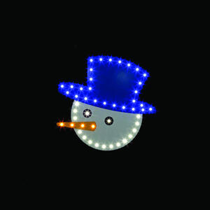 Santa's Best  Snowman Face  LED Christmas Decoration  Blue/White  Plastic  1 each