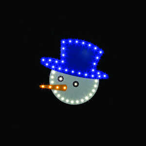 Santa's Best  Snowman Face  Blue/White  1 each LED Christmas Decoration  Plastic