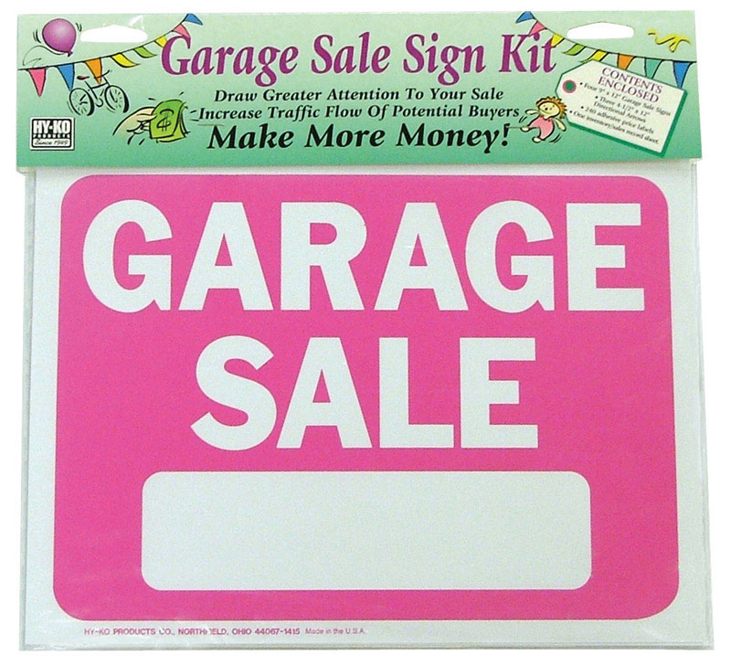 Hy-Ko  English  Garage Sale  9 in. H x 12 in. W Plastic  Sign Kit