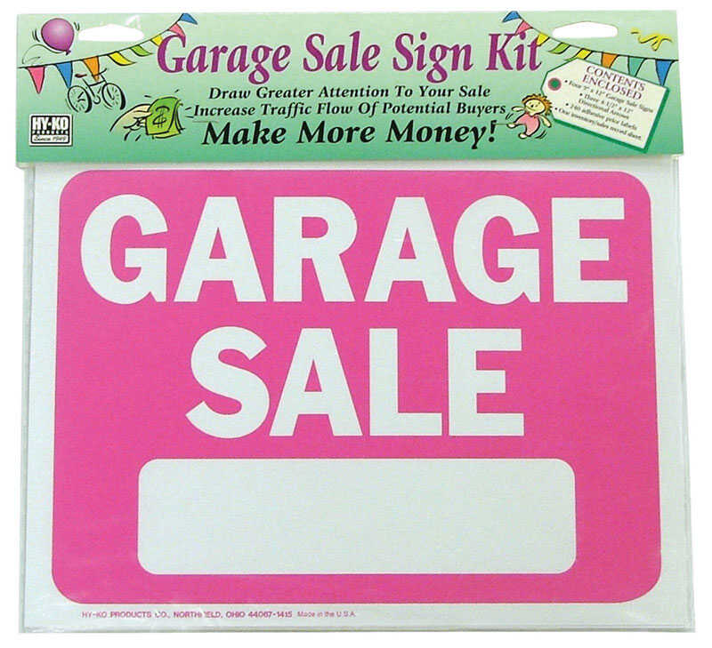 Hy-Ko  English  Garage Sale  Sign Kit  Plastic  9 in. H x 12 in. W