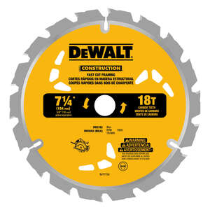 DeWalt  0.045 in.  Construction  Circular Saw Blade  5/8  18 teeth 1 pk Carbide Tip  7-1/4
