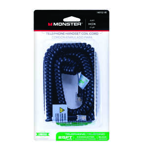 Monster Cable  25 ft. L Telephone Handset Coil Cord  Black