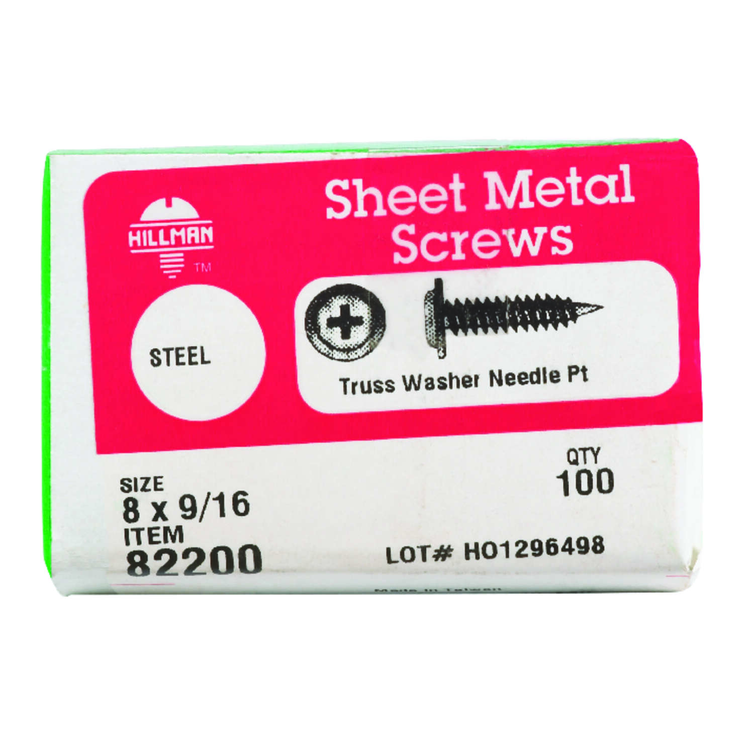 HILLMAN  8   x 9/16 in. L Phillips  Truss Head Steel  Sheet Metal Screws  100 per box Zinc-Plated