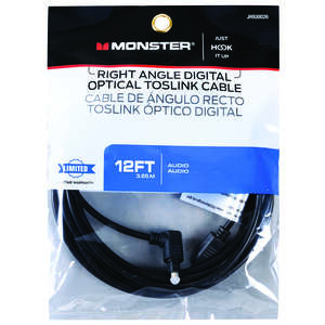 Monster Cable  Just Hook It Up  12 ft. L Digital Optical Toslink Cable  Digital Optical