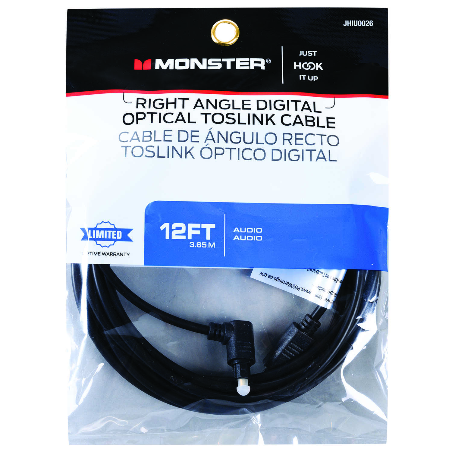 Monster Cable Just Hook It Up 12 ft. L Digital Optical Toslink Cable ...