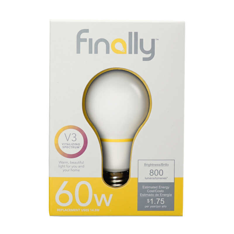 Finally  Lucidity Lights  14.5 watts A19  LED Bulb  800 lumens Warm White  A-Line  60 Watt Equivalen