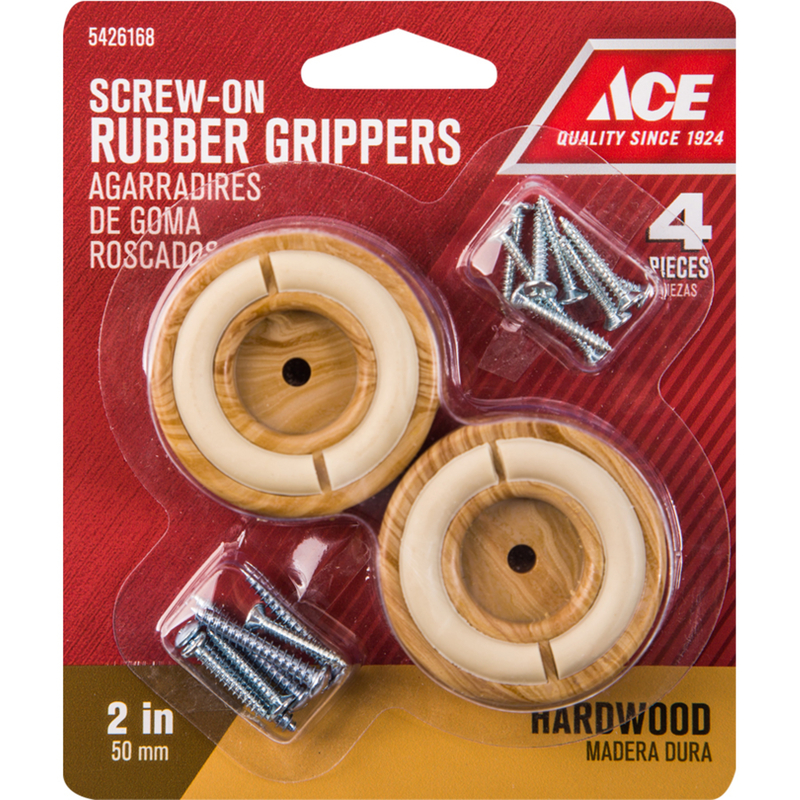Ace  Rubber  Non-Slip Cup for Hardwood Floors  Brown  Round  2 in. W 4 pk