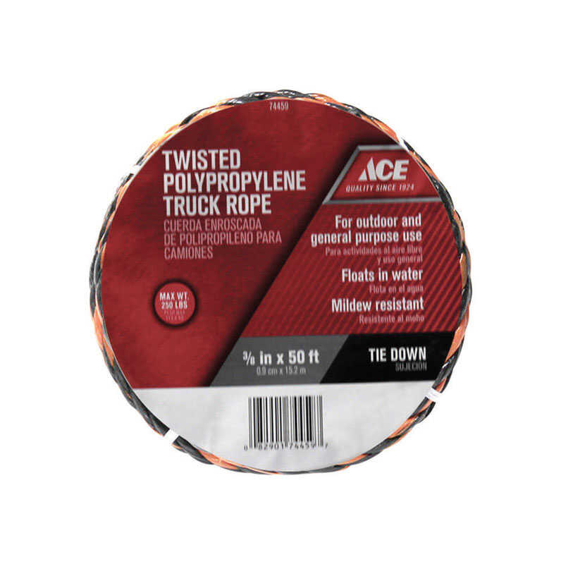Ace  3/8 in. Dia. x 50 ft. L Black/Orange  Poly  Truck Rope  Twisted