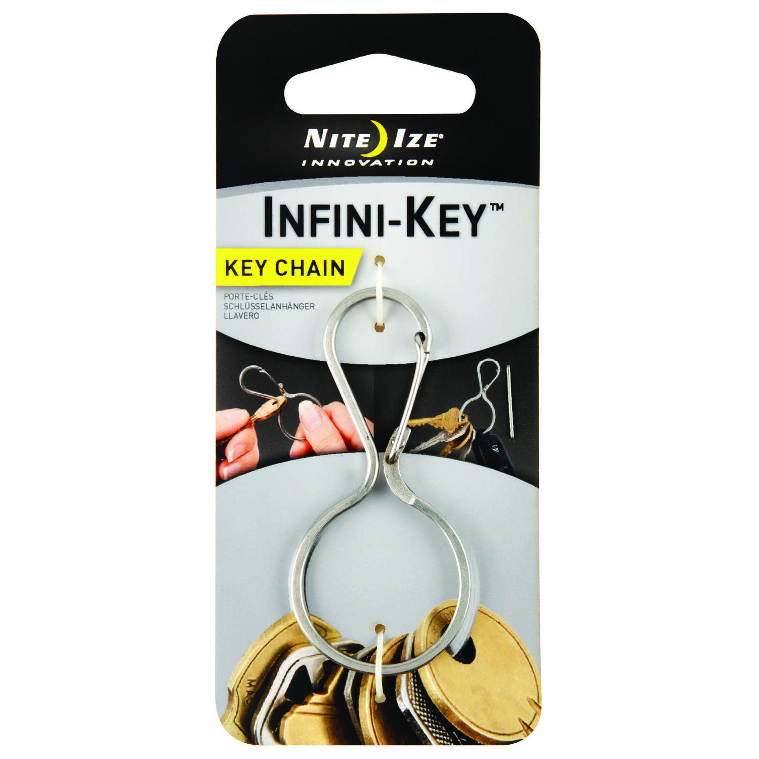 Nite Ize  Infini-Key  2 in. Dia. Stainless Steel  Silver  Key Ring