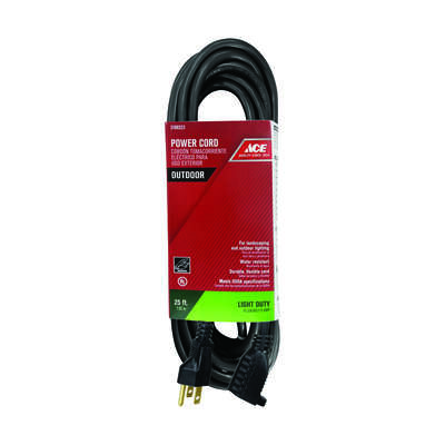 Ace  Outdoor  25 ft. L Black  Extension Cord  16/3 SJTW