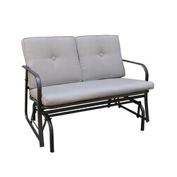 Living Accents Jefferson 2 person Black Steel Frame Double Glider Gray