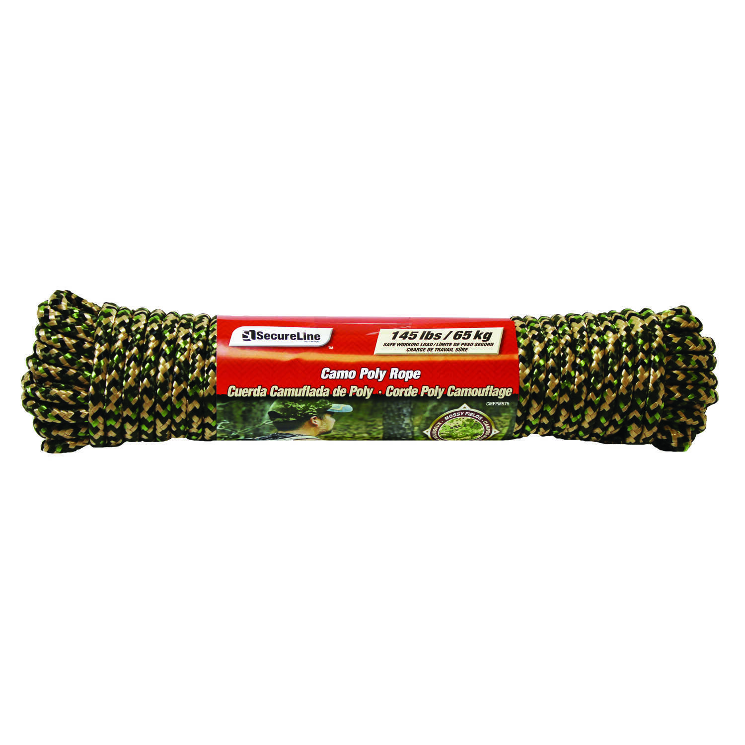 SecureLine  5/16 in. Dia. x 75 ft. L Camouflage  Diamond Braided  Polypropylene  Rope
