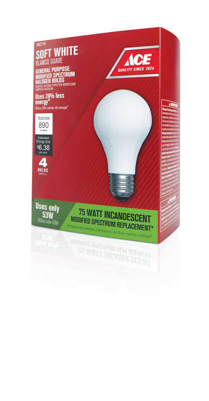 Ace  53 watts A19  Halogen Bulb  890 lumens Soft White  A-Line  4 pk
