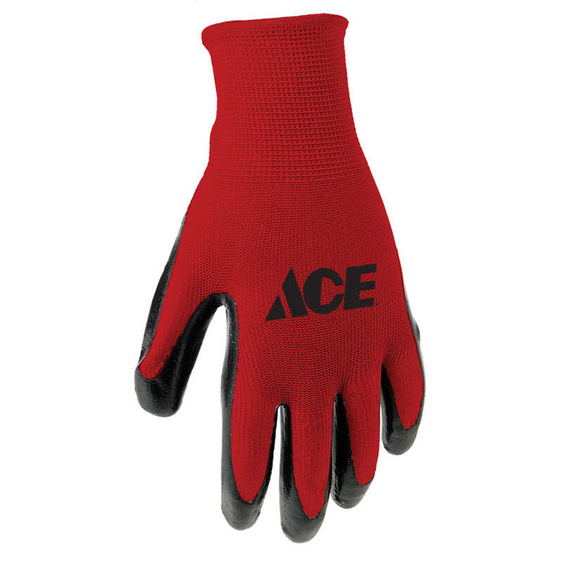 Ace  Men's  Indoor/Outdoor  Nitrile  Coated  Work Gloves  Red  M