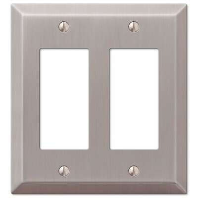 Amerelle Century Brushed Nickel Gray 2 gang Stamped Steel Rocker Wall Plate 1 pk