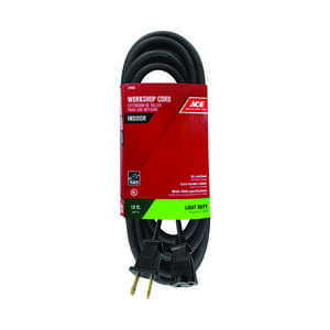 Ace  15 ft. L Black  Extension Cord  16/2 SJO  Indoor