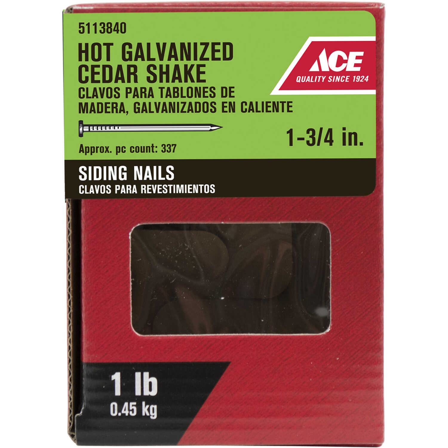 Ace  1-3/4 in. L Siding  Steel  Nail  Flat Head Smooth Shank  1 pk 1 lb.