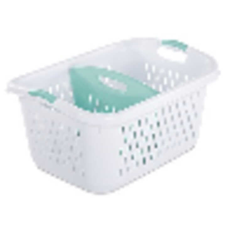 Sterilite  Plastic  White  Divided Laundry Basket