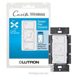 Caseta Lutron 1.5 amps Single Pole Wireless Fan Control White 1 pk