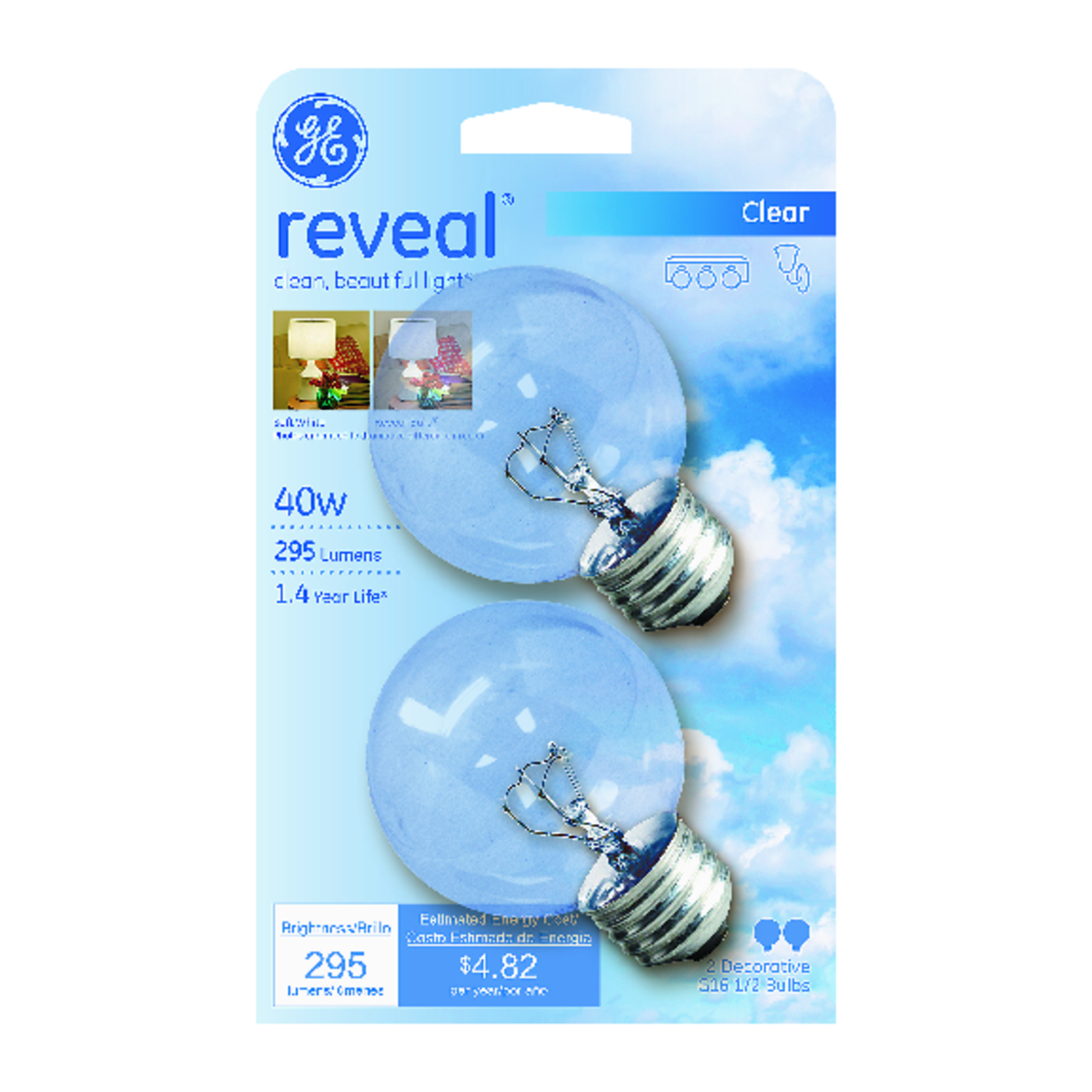 GE Lighting  Reveal  40 watts G16.5  Incandescent Light Bulb  295 lumens White (Clear)  2 pk Globe
